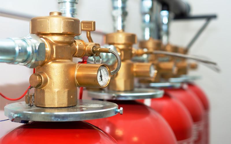 Extinción automática de incendios por gases
